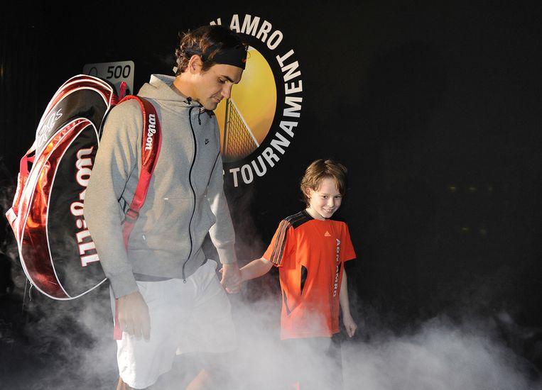 De Zwitser Roger Federer staat in 2012 in de catacomben van Ahoy klaar voor zijn partij tegen de Fin Jarkko Nieminen. Beeld anp