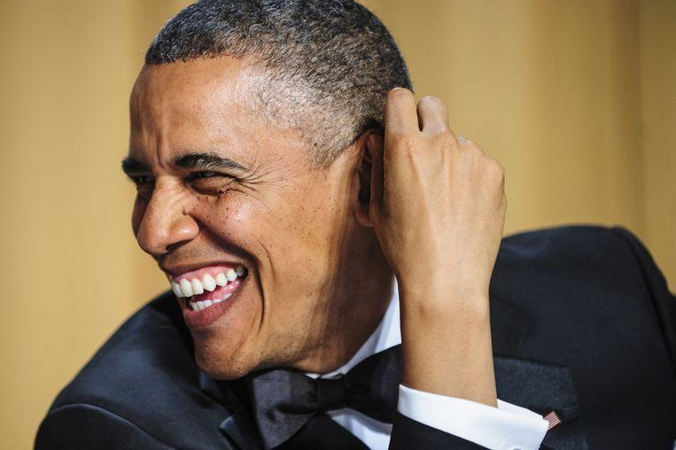 President Obama tijdens het Correspondents Dinner in het Washington Hilton. Beeld getty
