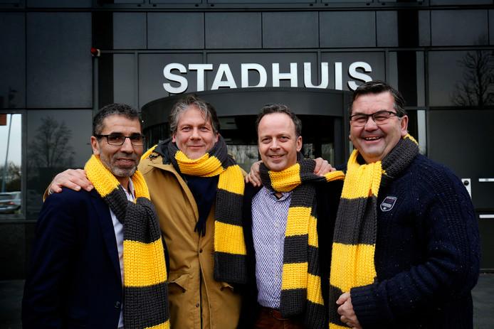 Raadsleden voor Democraten Gorinchem: (v.l.n.r.) Hafid Chaaby, Ro van Doesburg, Pierre Schefferlie en Kees van Willigen.