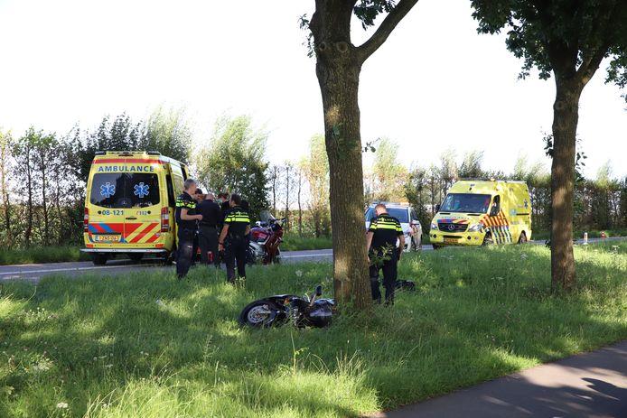 De motorrijder raakte een boom en belandde daarna in de berm.