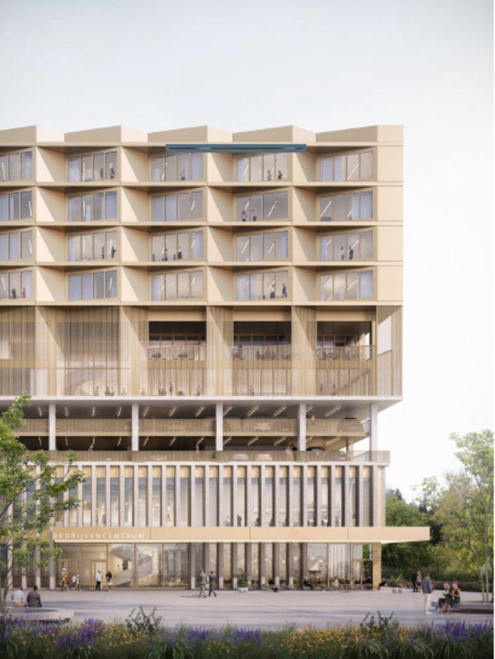 Het gebouw in detail. Winkels op het gelijkvloers, daarboven parkeerplaatsen, een trampolinepark en vier verdiepingen met kantoren