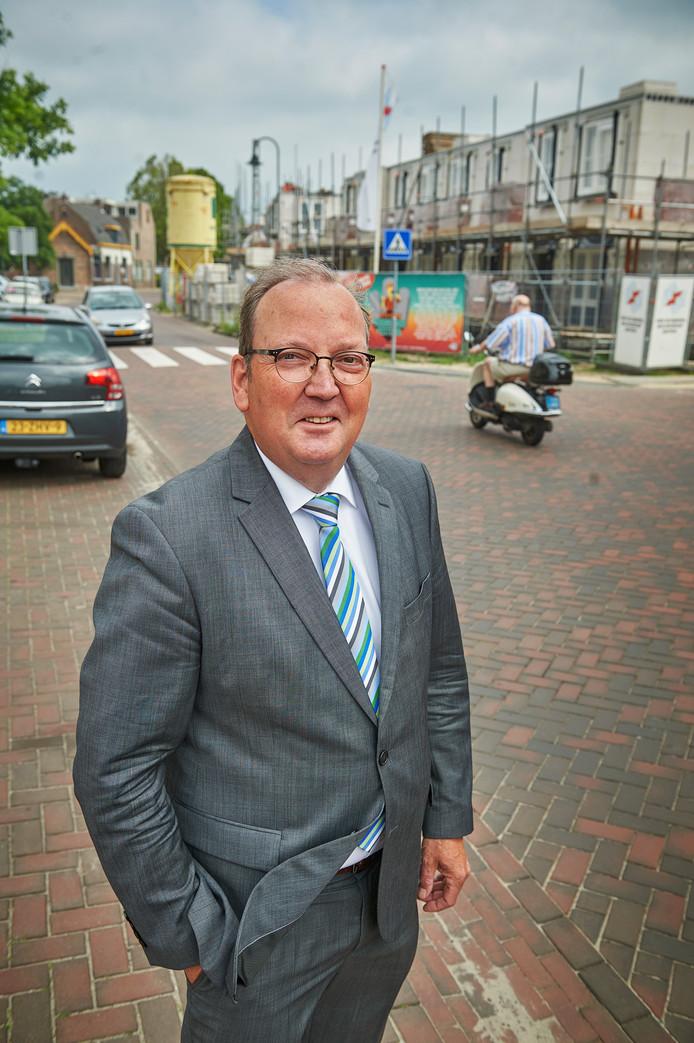 Eric van den Bogaard bij het bouwplan aan de Sluisstraat in Veghel, een van de projecten waar hij het meest trots op is.
