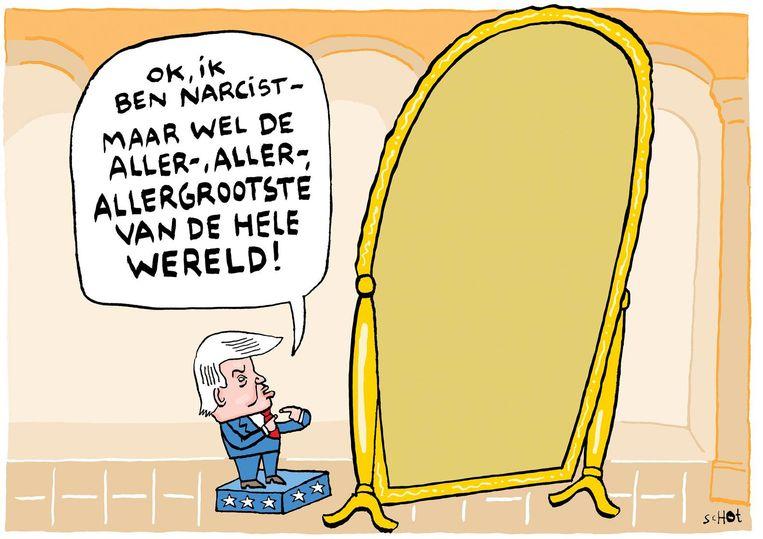 vk-trump narcist spiegel usa Trump  Illustratie: Bas van der Schot Beeld Bas van der Schot