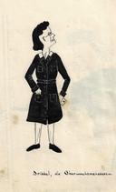 Oberwachtmeisterin Erna Kreikamp ('Dribbel'), getekend door Riet Hoogland, ca. 1942 Spotprent Oranjehotel.