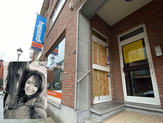 LIER - De droogkuis waar de feiten zich hebben afgespeeld werd na de vaststellingen verzegeld. INZET: Slachtoffer Nicole Gyselinckx