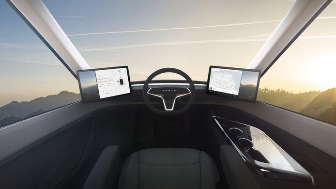 Het interieur van Tesla's elektrische truck