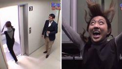 Verborgen camera in Japan: vrouw schrikt zich te pletter als ze door vloer van lift valt