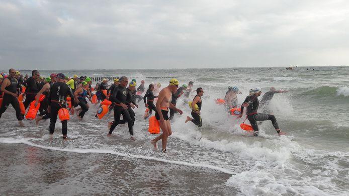 De start van de zeezwemtocht tussen Dishoek en Zoutelande.