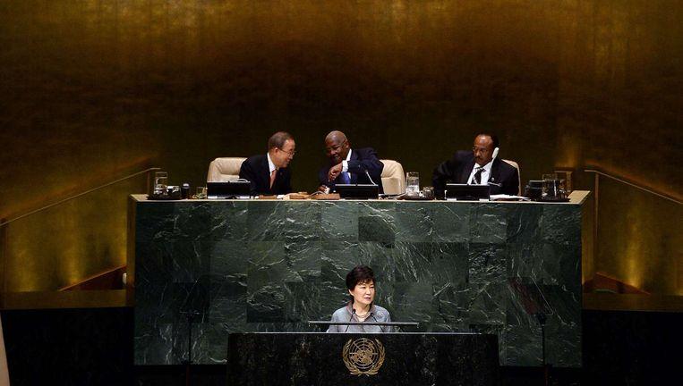 De Zuid-Koreaanse president Park Geun-hye spreekt de 69ste Algemene Vergadering van de VN toe, september vorig jaar. Beeld © Jewel Samad / AFP