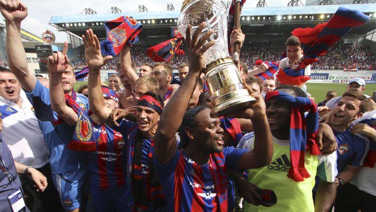 De spelers van CSKA Moskou bij de titelviering Beeld AP