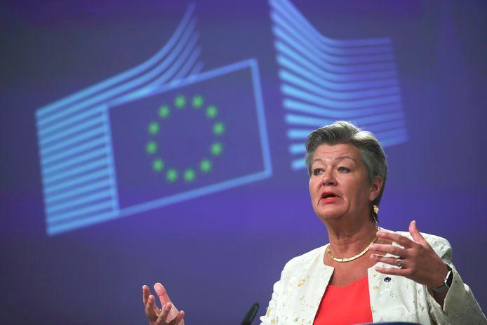 La commissaire aux Affaires intérieures Ylva Johansson lors d'une conférence de presse au Berlaymont à Bruxelles, le 24 juillet 2020.