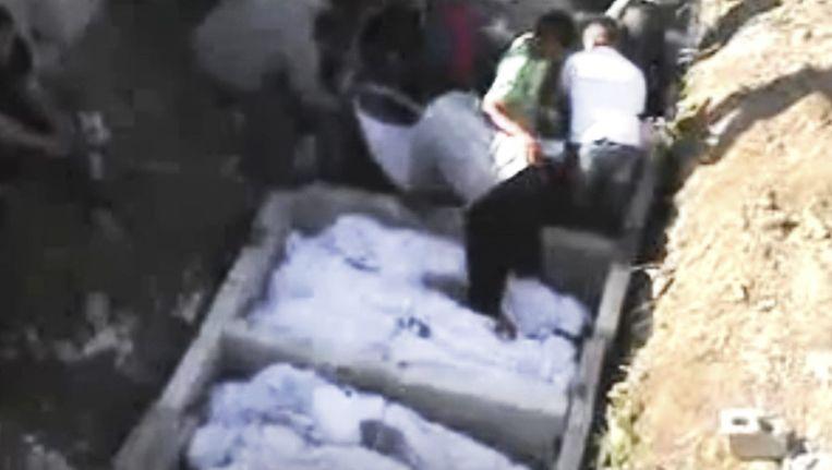 De lichamen van Syrische rebellen. Beeld ap