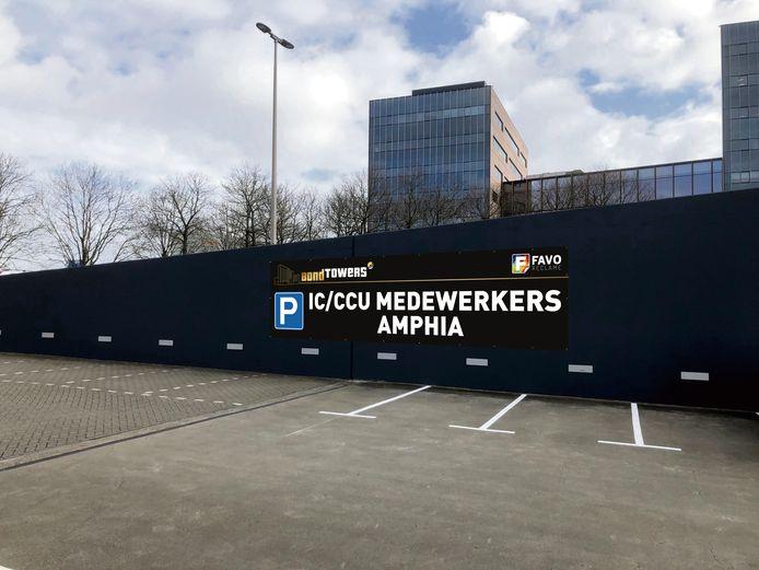 De parkeerplaatsen voor Amphia-personeel bij de Bond Towers in Breda.