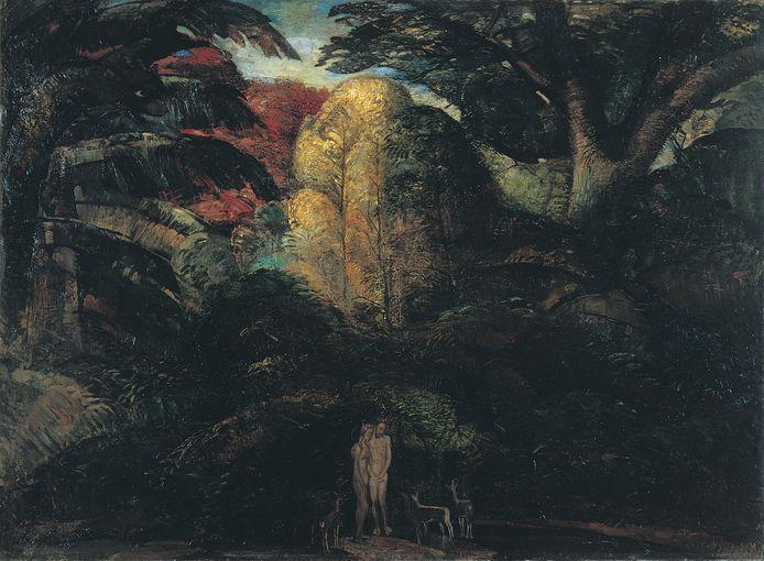 Adam en Eva in het paradijs.  Van kunstenaar Herman Kruyder, Paradijs.