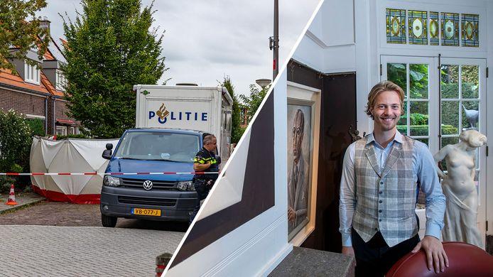 Politie doet onderzoek in de woning aan Zonnebloemstraat in Almelo (links). Rechts: Kas Buunk van Simons & Buunk.
