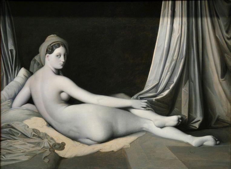 ►La Grande Odalisque van Jean- Auguste- Dominique Ingres, uit ongeveer 1830. Het is een kopie van hetzelfde schilderij in kleur. Beeld © Tomas Abad
