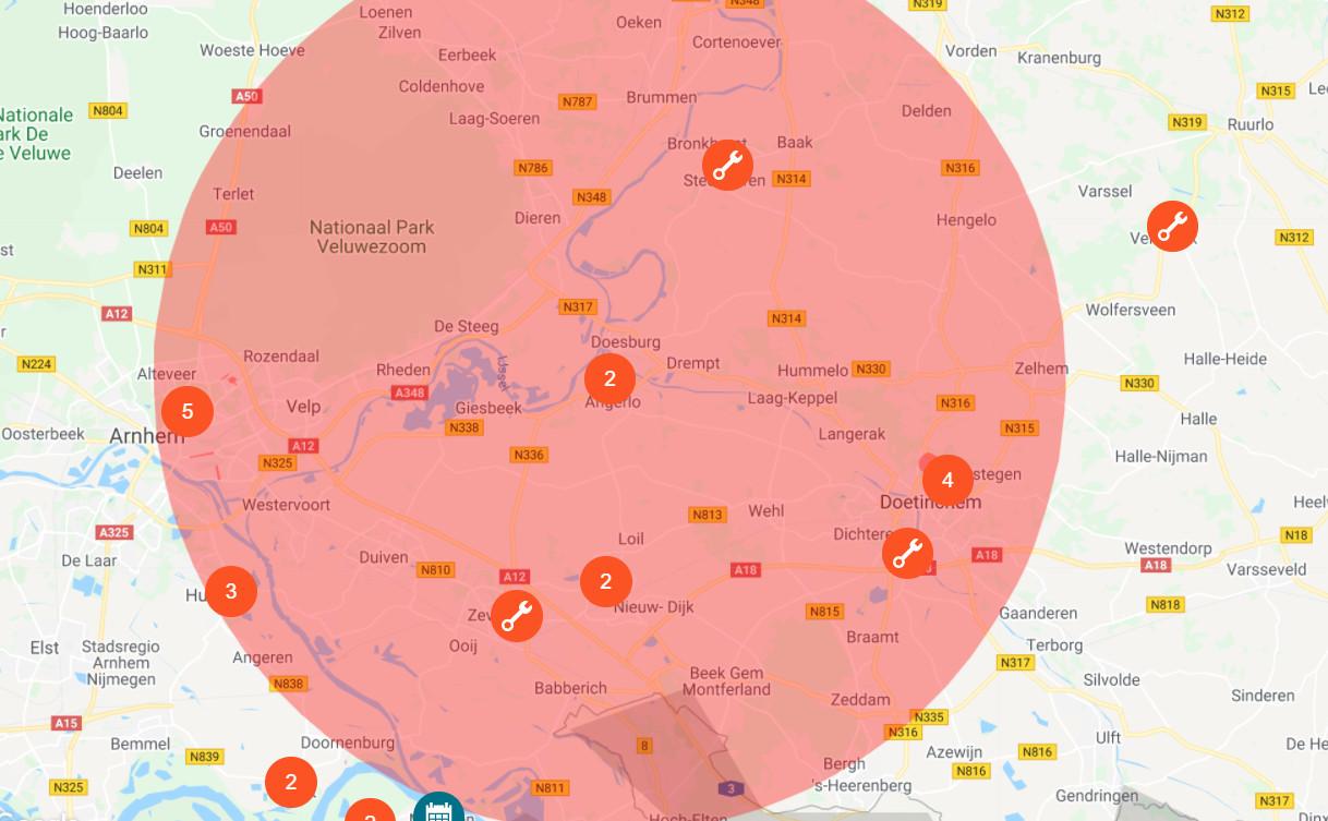 Het gebied dat door de leidingbreuk overlast ervoer. Het ging volgens Vitens om duizenden tot tienduizenden huishoudens in de regio Liemers en de gemeente Rheden.