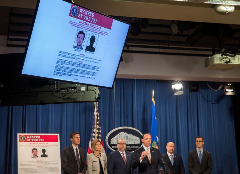 Twee mannen uit Iran zijn deze week in de Verenigde Staten aangeklaagd, omdat ze sinds 2015 betrokken zouden zijn geweest bij het maken en verspreiden van de SamSam-gijzelsoftware.  Beeld EPA