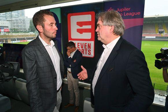 Pierre François (rechts) en Guillaume Collard bij de voorstelling van Eleven Sports als nieuwe rechtenhouder van het Belgisch voetbal.