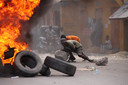In de dagen voor de begrafenis waren er al gewelddadige protesten, zoals hier in Cap-Haïtien.