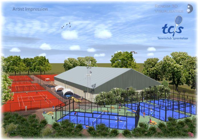 Zo moet het complex van TC Sprenkelaar eruit komen te zien, zodat je straks op de blauwe banen kunt padellen.