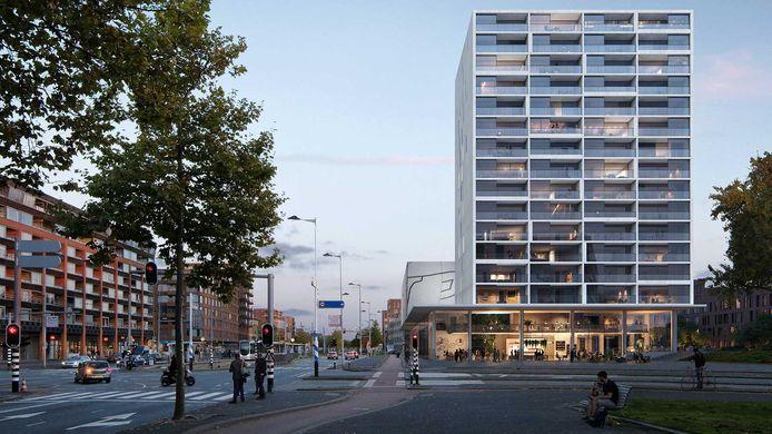 Impressie van het toekomstige Huis op Zuid langs de Laan op Zuid in Rotterdam, waarin een zwembad en een sporthal komen. De bouw moet na de zomer beginnen.