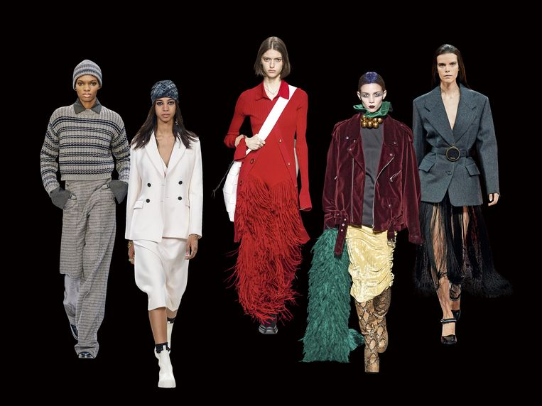 Van links naar rechts: Max Mara / Dior / Bottega Veneta / Dries Van Noten / Prada. Beeld rv