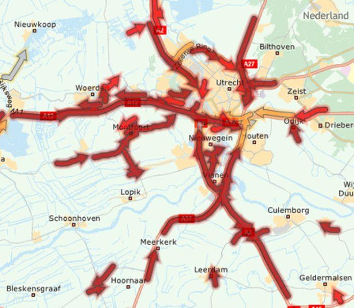 Een overzichtskaartje van de files rond Utrecht dinsdagochtend.