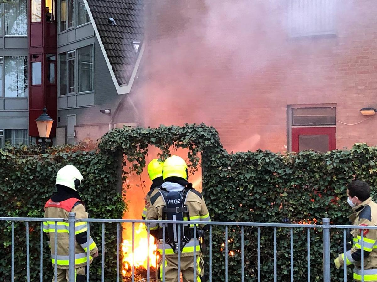In de tuin in Beuningen was brand ontstaan.