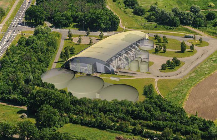 Zo zou de toekomstige mestfabriek op Elhorst-Vloedbelt er volgens Twence uit moeten  zien.