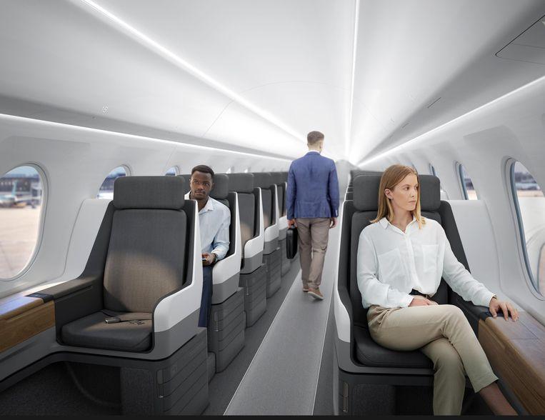 Zo ziet Boom Supersonic het interieur voor zich van de Overture - tegen die tijd mogelijk wel met meer passagiers. Beeld Boom Supersonic