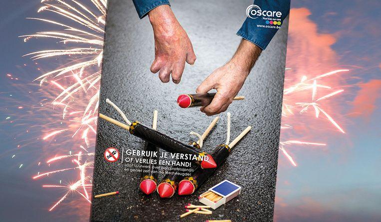 """Met de campagne """"Gebruik je verstand of verlies een hand!"""" roept vzw Oscare op om het afsteken van vuurpijlen aan professionals over te laten."""