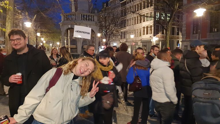 Afgelopen donderdag was het opnieuw prijs in Luik. Volgens de politie verzamelden toen 150 mensen voor een protestactie tegen de coronamaatregelen. Er was ook een delegatie van de horeca aanwezig. Beeld BELGA