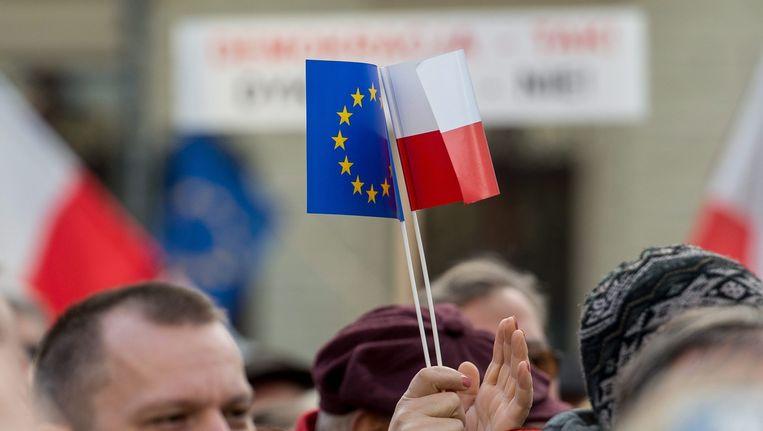 Demonstratie tegen de PiS-regering in de Poolse stad Wroclaw. Beeld epa