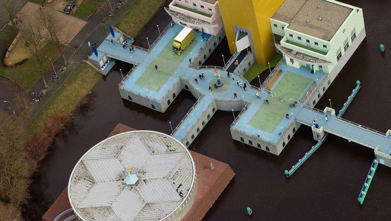 Luchtfoto van het Groninger Museum. © ANP Beeld