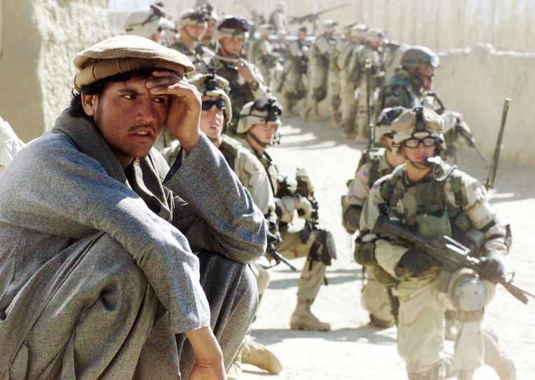 Amerikaanse troepen in Yayeh Kehl in de Afghaanse provincie Paktia. De VS trekt na twintig jaar zijn troepen uit het land terug. Beeld Getty Images