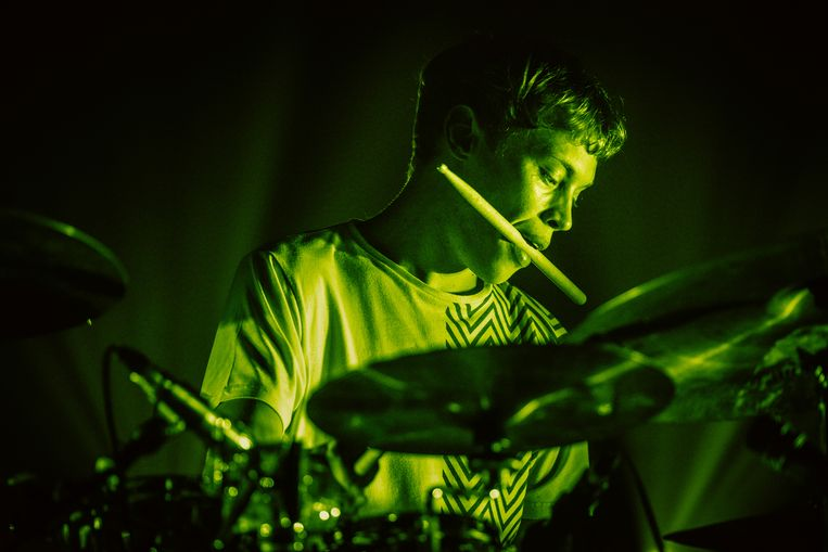 Drummer Lander Gyselinck van de band STUFF.. Beeld Illias Teirlinck