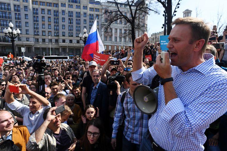 De Russische oppositieleider Aleksej Navalny tijdens een rally in 2018 in Moskou. Beeld Hollandse Hoogte / AFP