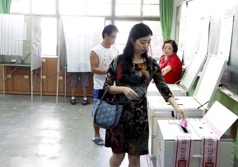 Een stembureau in Taiwan. Beeld epa