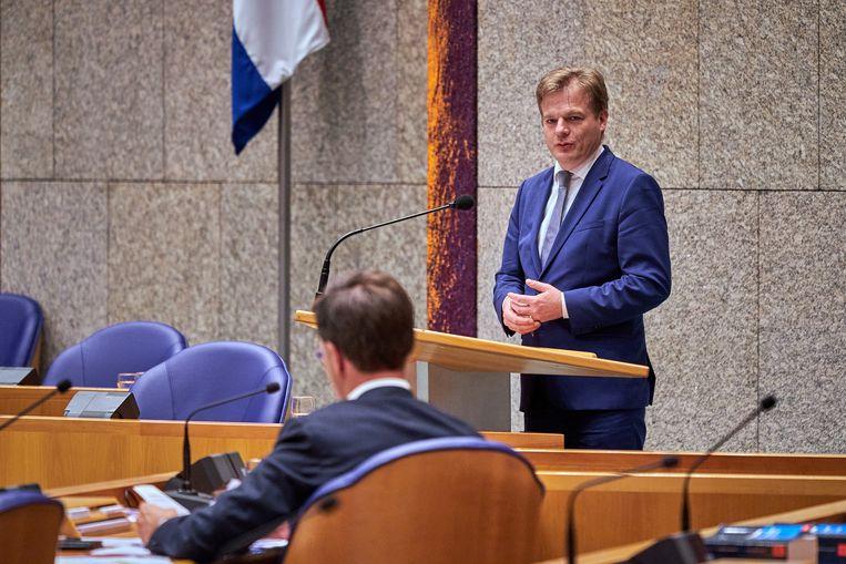 CDA-Kamerlid Pieter Omtzigt en premier Mark Rutte in september dit jaar in de Tweede Kamer. Beeld Hollandse Hoogte /  ANP