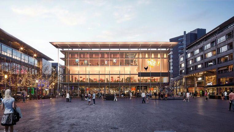 Een impressie van de gesneuvelde nieuwe bioscoop in Amstelveen, bovenop de bestaande bibliotheek Beeld Amstelveen