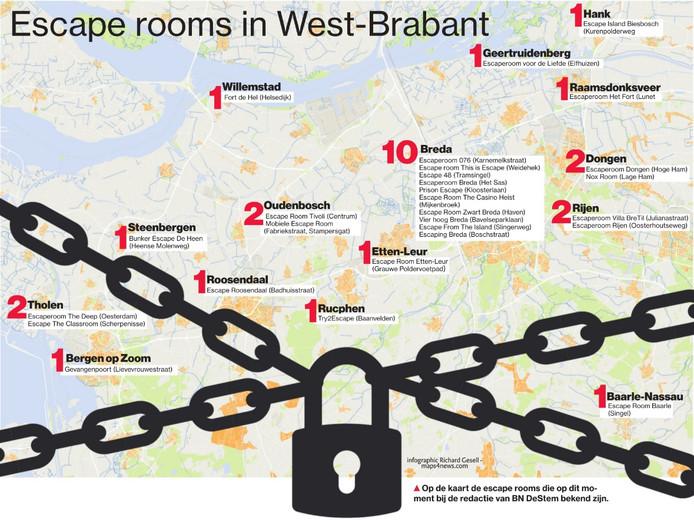 Op de kaart staan escape rooms die op dit moment bij de redactie van BN DeStem bekend zijn.