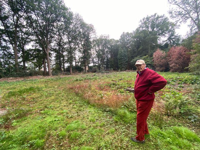 Frits Philips junior bij de open plek die is ontstaan door het kappen van sparren op landgoed De Wielewaal.
