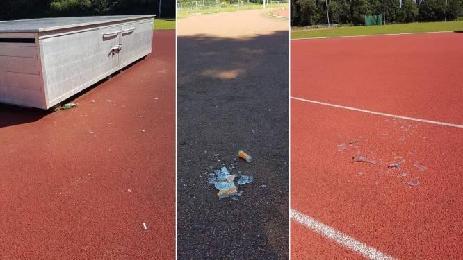 Vandalen laten stukgeslagen flessen en glazen achter op piste van Bonheiden Atletiekclub