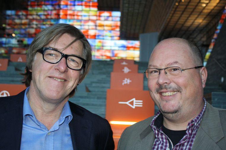 Bert van der Veer met zijn uitgever Marc van Ginsbergen. Beeld