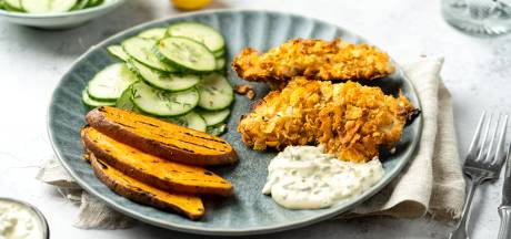 Wat Eten We Vandaag: Krokante kip met gegrilde zoete aardappel