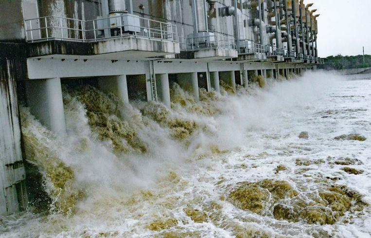 Het Gulf Intracoastal Waterway West Closure Complex in Belle Chasse bij New Orleans. Het is een van de 'deltawerken' die na de orkaan Katrina is gebouwd om de stad beter tegen het water te beschermen. Beeld AP