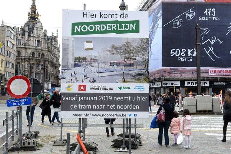 Een project van Beheersmaatschappij Antwerpen Mobiel (BAM) aan de leien in Antwerpen. BAM is een van de Vlaamse agentschappen. Beeld Hollandse Hoogte / Peter Hilz