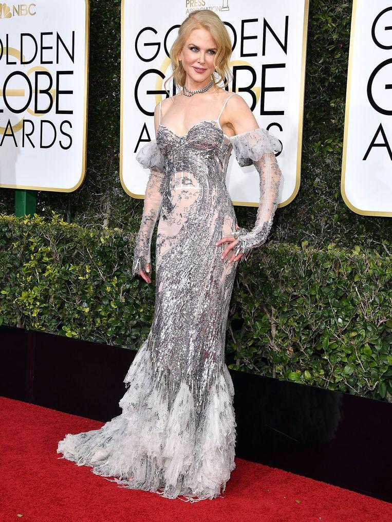 Hoe het niet moet: Nicole Kidman op de Golden Globes in 2017. Beeld WireImage