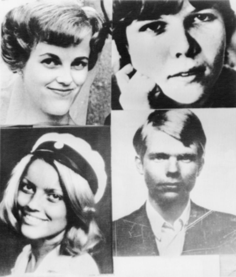 De gijzelaars: Birgitta Lundblad (linksboven), Kristin Enmark (rechtsboven), Elisabeth Oldgren (linksonder) en Sven Säfström.   Beeld